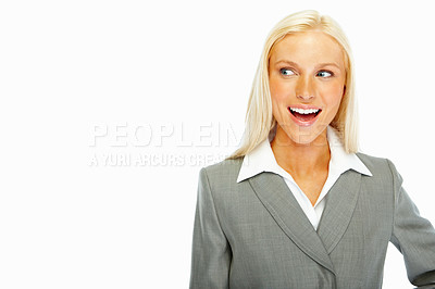 Buy stock photo Excited young business woman looking at copyspace