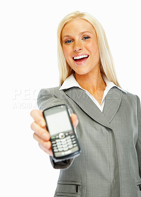 Buy stock photo Happy business woman holding a new cellphone over white background