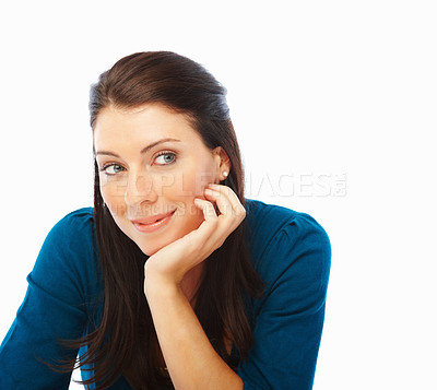 Buy stock photo Pretty young woman looking at copyspace, over white background