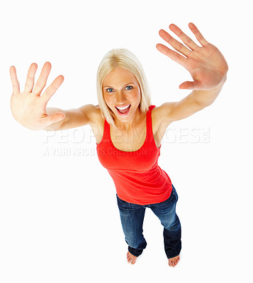 Buy stock photo Portrait of an attractive hot woman with her arms raised
