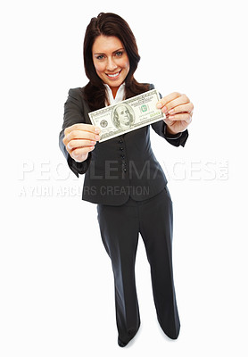 Buy stock photo Full length portrait of a happy business woman holding cash, isolated over white background