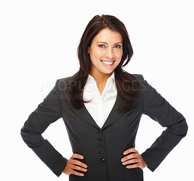Buy stock photo A delighted young business woman posing against white background