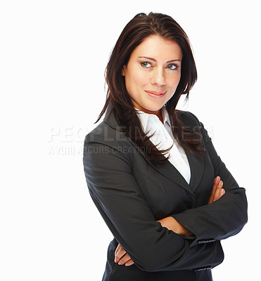 Buy stock photo Elegant young business woman with hands folded, against white background