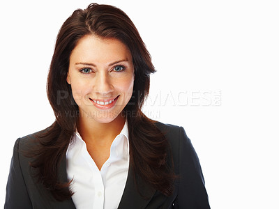 Buy stock photo Portrait of a charming young business woman smiling confidently