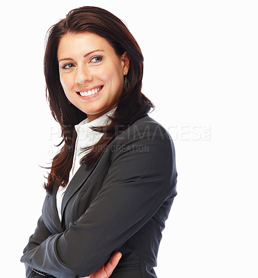 Buy stock photo Pretty confident business woman with hands folded, against white background