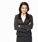 Confident business woman with hands folded over white