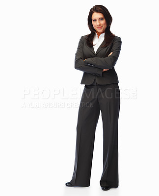 Buy stock photo Full length image of a confident business woman standing over white