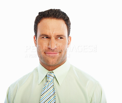Buy stock photo Closeup of a relaxed young business man isolated against white