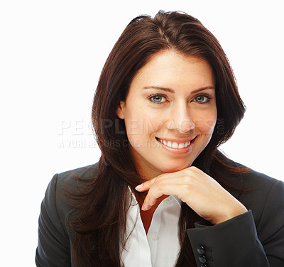 Buy stock photo Image of a happy business woman smiling against white background