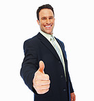 Businessman with thumbs up on an isolated white background