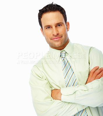 Buy stock photo Confident business man with hands folded isolated over white background