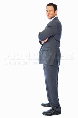 Buy stock photo Profile image of a business man posing over white background