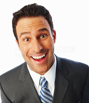 Buy stock photo Happy business man making a funny face over white background