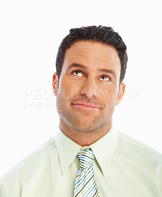 Buy stock photo Closeup portrait of an attractive business man isolated on white background
