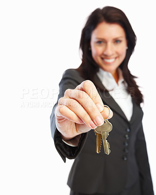 Buy stock photo Portrait of a business woman holding keys, isolated on white background