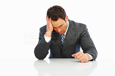 Buy stock photo Business man having a head ache on white background