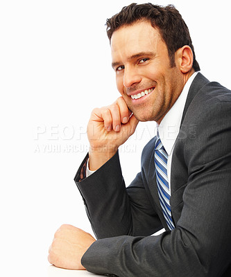 Buy stock photo A successful young business man smiling confidently over white background