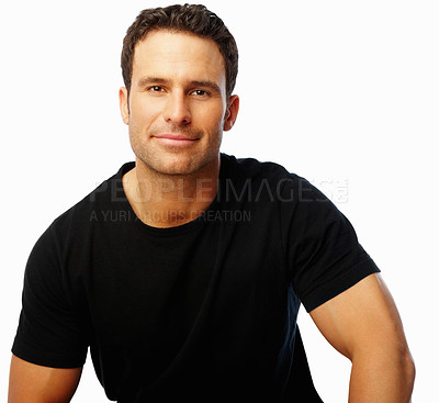 Buy stock photo Portrait of a young man smiling over white background