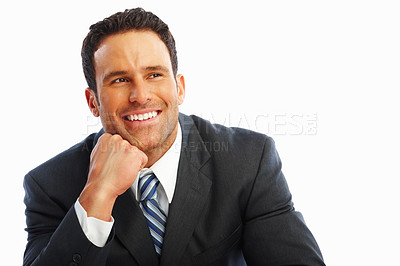 Buy stock photo Portrait of a sophisticated positive business man isolated on white background