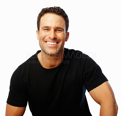 Buy stock photo Smart handsome man smiling confidently at you against a white background