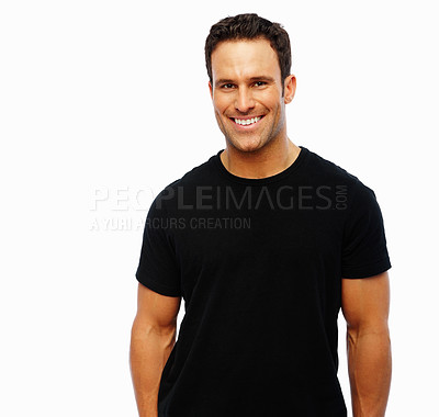 Buy stock photo An attractive young man smiling over white background