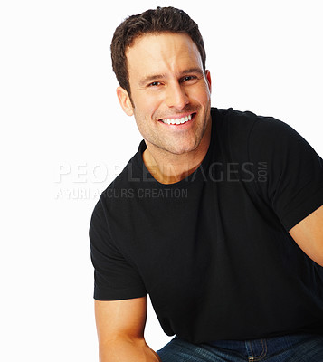 Buy stock photo Portrait of handsome young man isolated over white background