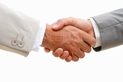 Buy stock photo Closeup of business people shaking hands against white