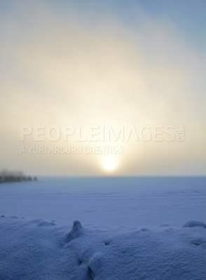 Buy stock photo Photo of warm sunset on a cold winterday