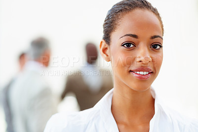 Buy stock photo Closeup portrait of a young African American business woman