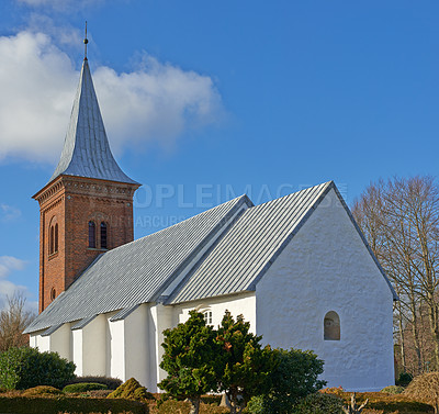 Buy stock photo Danish country church, 800 years old, Faarup, Jutland, Denmark  [please include the above in the final image title/description, thanks!]