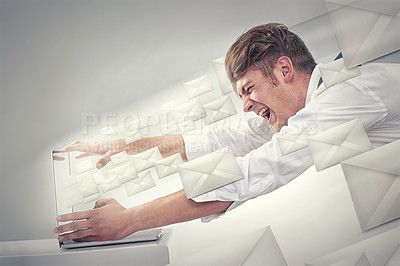 Buy stock photo Shot of a business man being blown away by the emails from his laptop -CGI