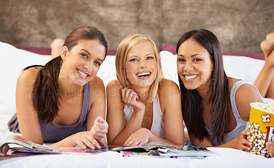 Buy stock photo Portrait of a group of friends hanging out at home