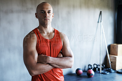 Buy stock photo Portrait of a man at the gym