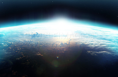 Buy stock photo Cropped image of a new dawn somewhere on planet earth - ALL design on this image is created from scratch by Yuri Arcurs'  team of professionals for this particular photo shoot