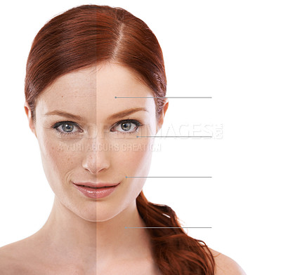 Buy stock photo Conceptual studio shot of lines pointing to different parts of an attractive woman's face