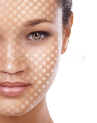 Buy stock photo Conceptual studio portrait of a young ethnic woman with a dot matrix overlay on her face