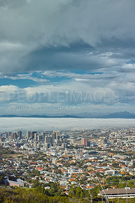 Buy stock photo A high up view of the city of Cape Town, South Africa on a cloudy day