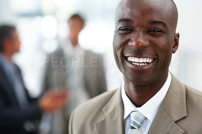 Buy stock photo Portrait of a successful African American business man, laughing