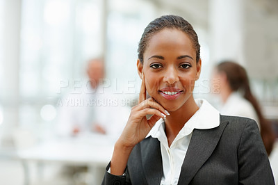 Buy stock photo Image of an attractive African American business woman smiling confidently