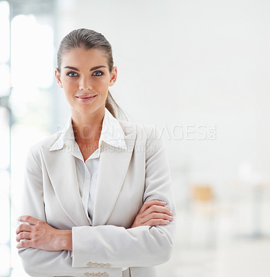 Buy stock photo Portrait of a pretty young business woman with hands folded