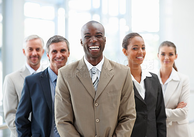 Buy stock photo Portrait of a successful business man with his team