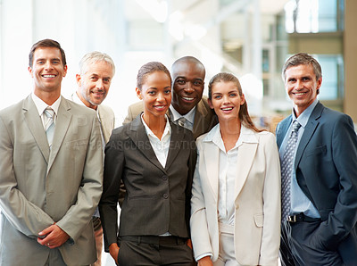 Buy stock photo Team of happy successful business colleagues together