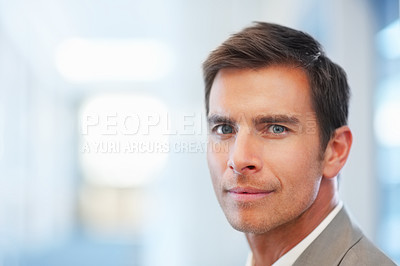 Buy stock photo Closeup portrait of a happy young business man