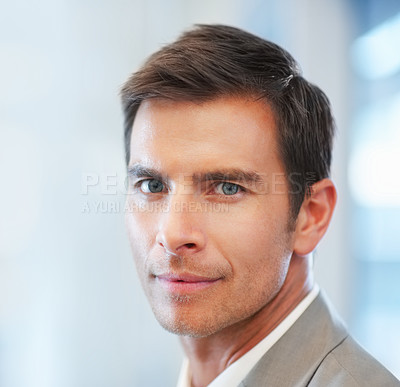Buy stock photo Closeup portrait of a successful young business man