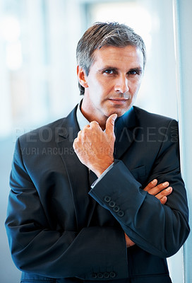 Buy stock photo Portrait of a thoughtful elderly business man