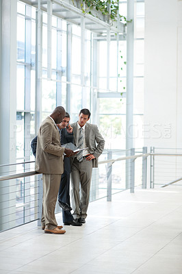 Buy stock photo Group of three business men working with files and folders
