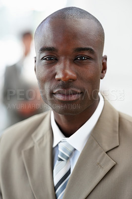 Buy stock photo Closeup of a thoughtful African American business man