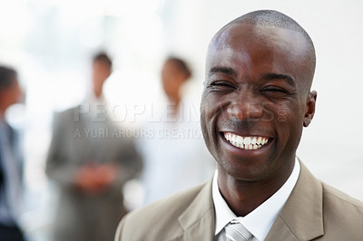Buy stock photo Closeup portrait of a good looking African American business man