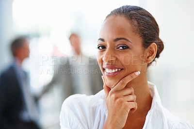 Buy stock photo Closeup portrait of a smiling African American business woman