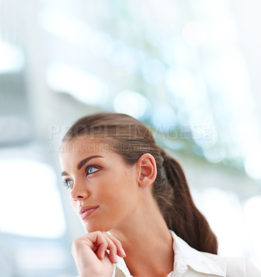 Buy stock photo Portrait of an elegant creative business woman looking away
